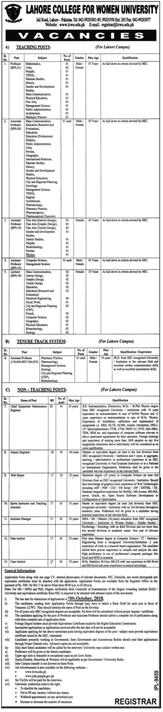 Lahore College for Women University Latest Jobs 2018