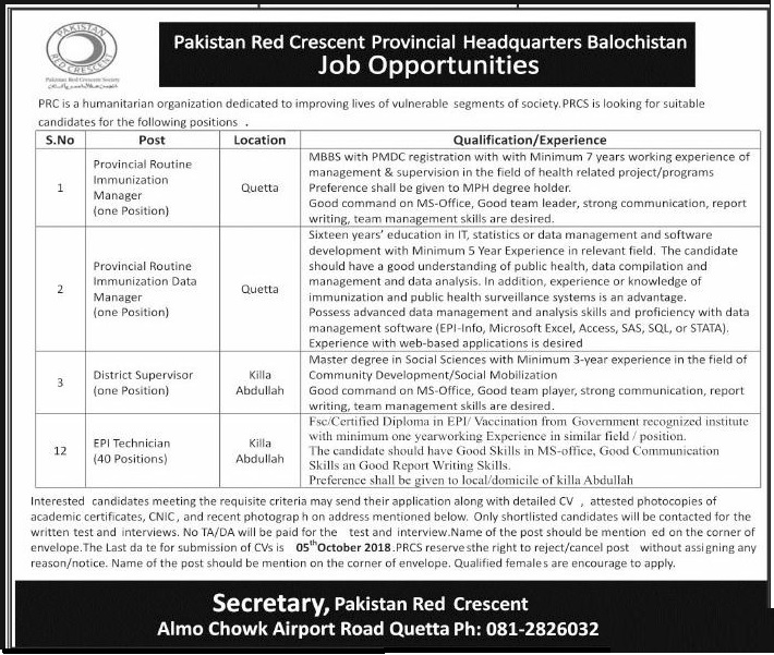 Jobs in Pakistan Red Crescent Headquarter in Baluchistan 2018