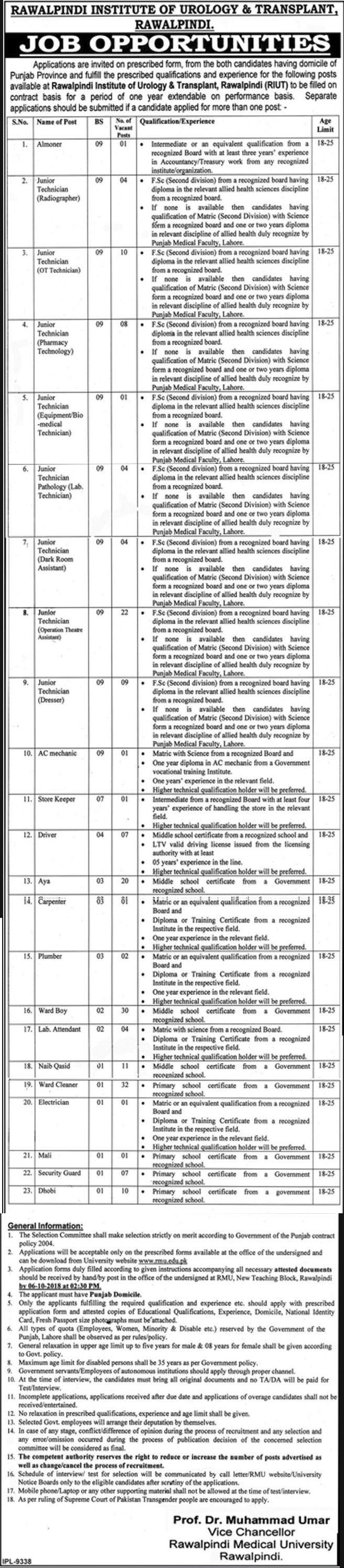 Latest Jobs in Rawalpindi Medical College/University 2018