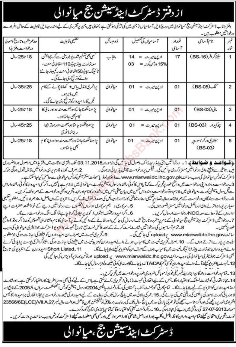 District and Session Court Mianwali Latest Jobs 2018