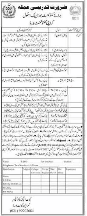 Latest Jobs in Karachi Cantonment Board, Karachi 2018