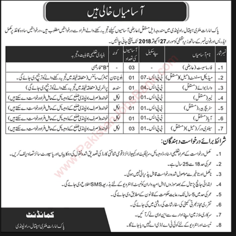 Pak Emirates Military Hospitals jobs