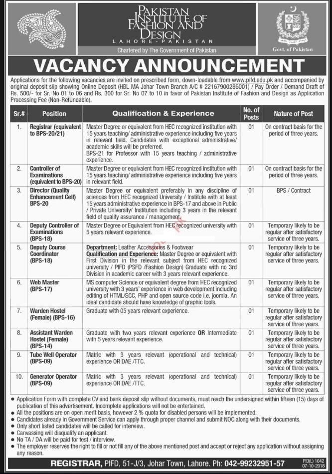 Photo of Jobs in Pakistan Institute of Fashion & Design Lahore 2019