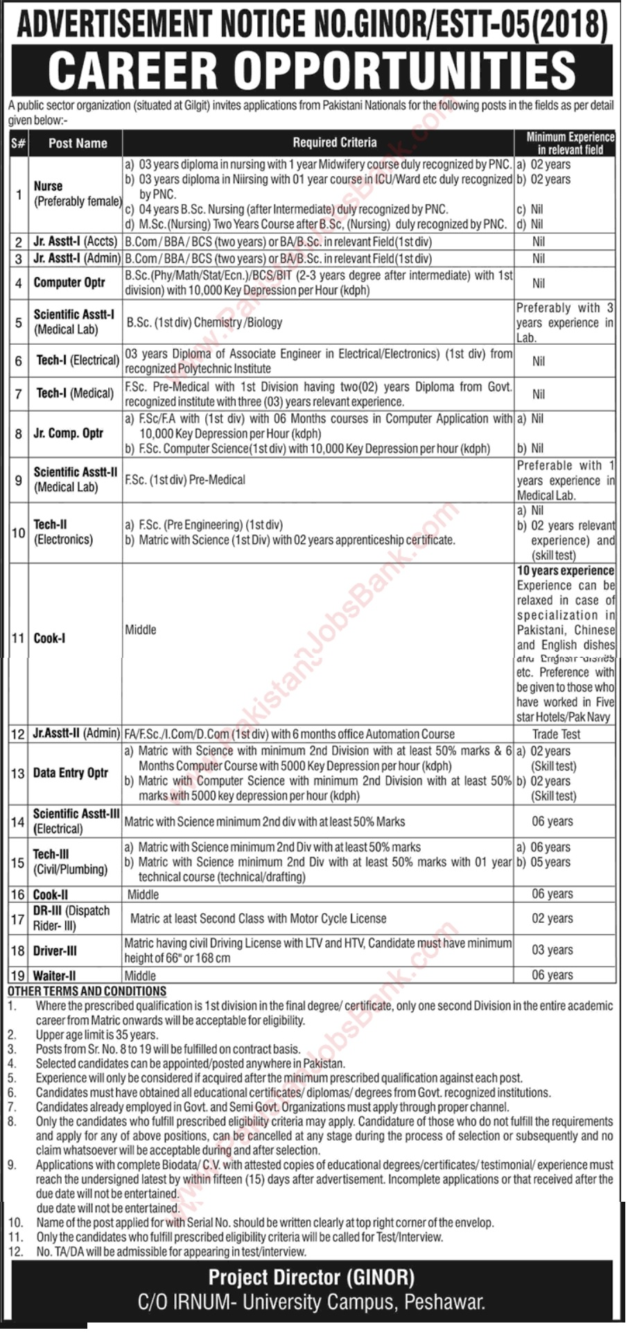 Latest Jobs in PAEC Ginor Hospital Gilgit 2018
