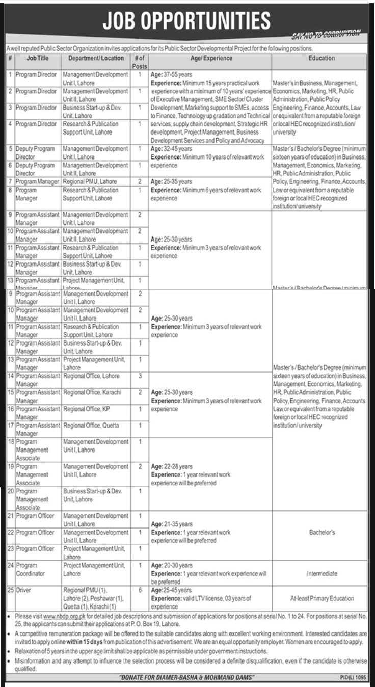 Public Sector Organization Latest Jobs in Lahore 2018