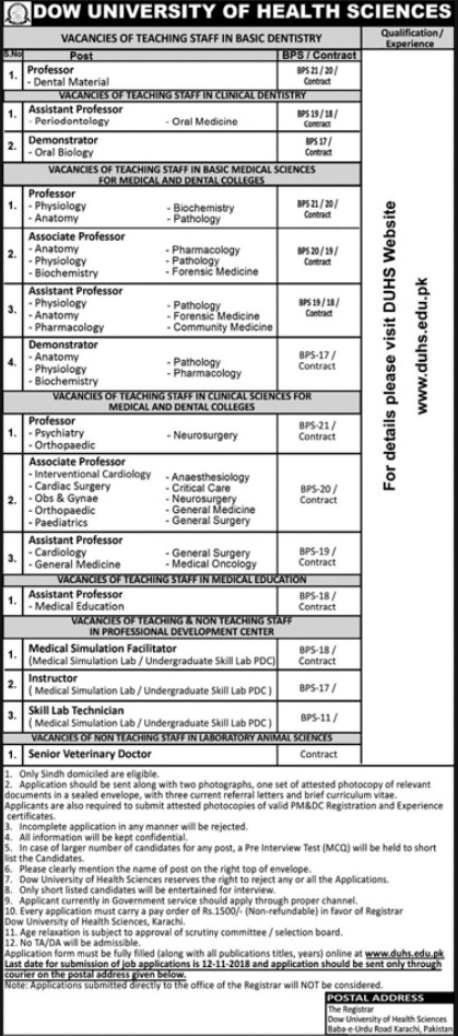 Dow University of Health Sciences, Karachi Latest Jobs