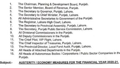 Photo of Punjab Austerity Measures for Financial Year 2020-2021