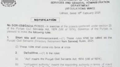 Photo of Notification of Directory Retirement Punjab Govt. Employees 2021