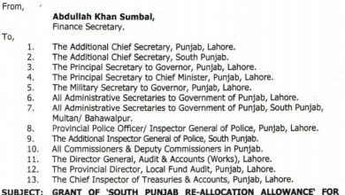 Photo of Grant of Re-Allocation Allowance for Officers/officials in South Punjab