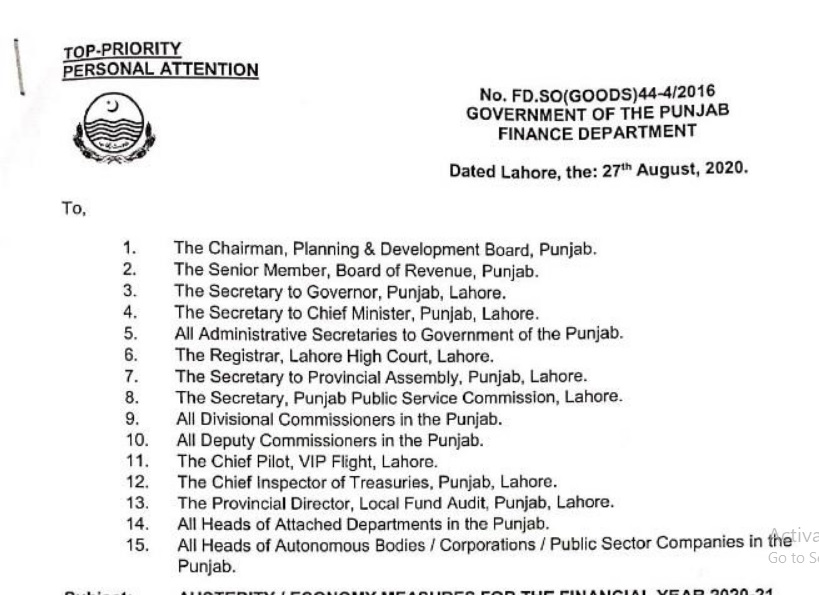 Punjab Government Austerity Measures